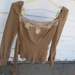 Red Valentino  peasant fitted belted lace blouse